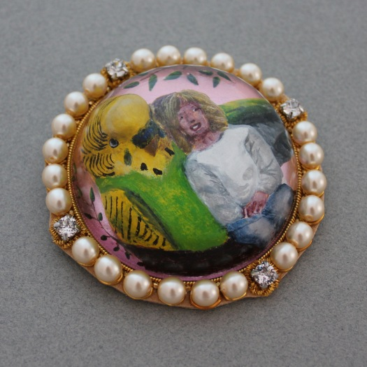 Essex crystal reverse intaglio girl and budgie