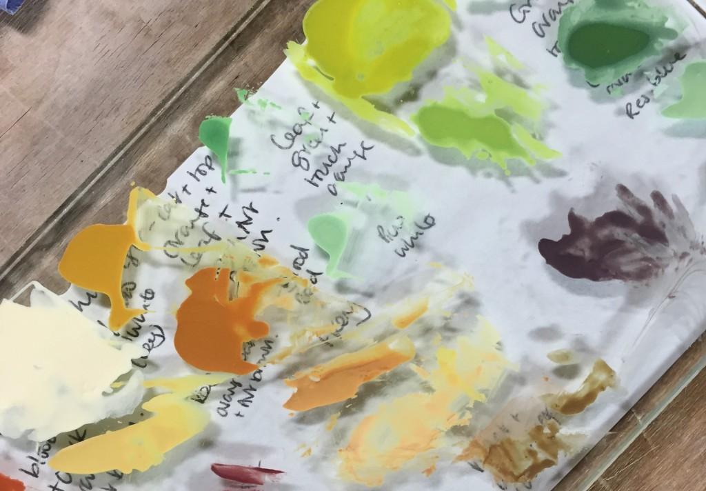 Glass painting pallet showing enamel paints