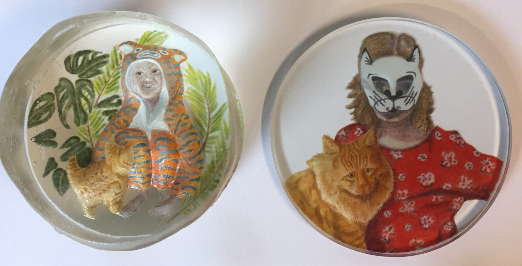 reverse intaglio crystal with enamel painting