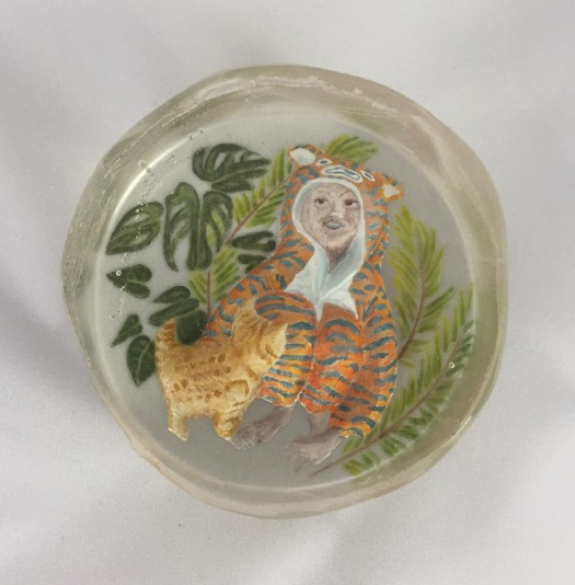 Boy in a Tiger Onesie - Cast glass, engraved and painted with glass enamels using the miniature portraitist's technique onto a dimensional surface