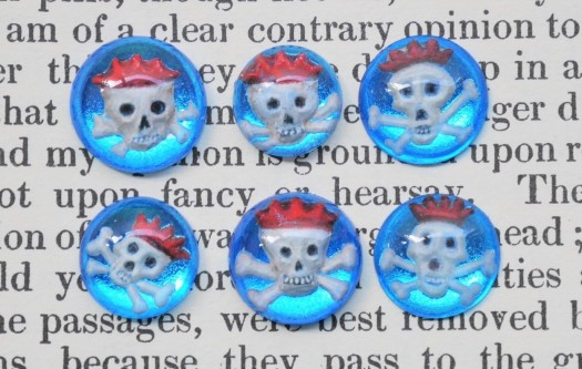 Memento Mori skull crystals. Engraved, cast and enamel painted glass, gilded on the reverse with coloured silver leaf