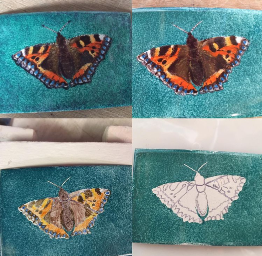 Enamel on metal butterfly painting in layers