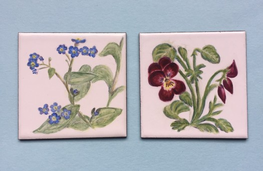Flower studies. Fine enamel fired onto pre-enamelled metal blanks