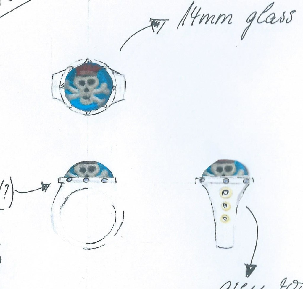 Designs for a memento mori ring by Isabelle Capitain, with collaged skull crystals by Victoria Scholes